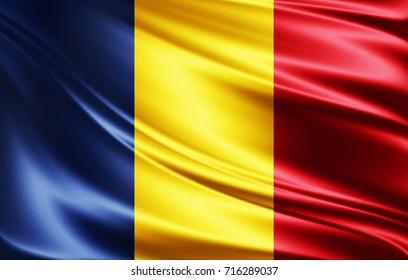 Romania flag of silk-3D illustration