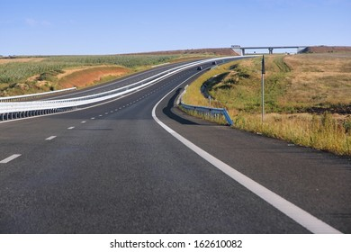 Romania landscape - new motorway in rural landscape of Arad county.