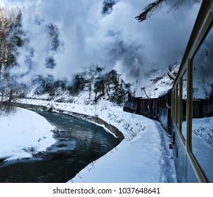 Romania, Maramures, Viseu de Sus, Feb, 2018: Mocanita, the Steam Train from Viseu de Sus; touristic train