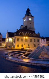 Romania old city from Transylvania called Brasov by night
