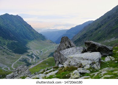 Romania, Romanian Carpathians - Fagaras Mountains, view from the ridge to the zigzag road (bends) of the Transfagarasan Highway road