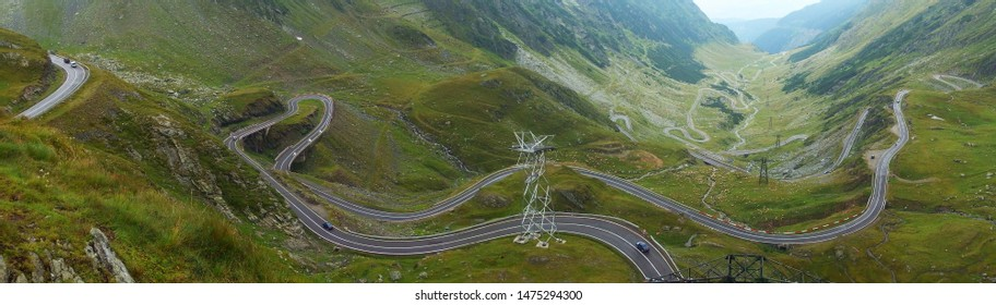 Romania, Romanian Carpathians - Fagaras Mountains, panoramic view from Balea Lac on the zigzag road (bends) of the Transfagarasan Highway road