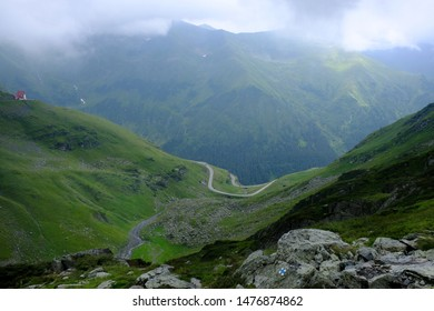 Romania, Romanian Carpathians,  Fagaras Mountains - on a tourist trail, descending in low clouds to the Transfagarasan Highway in the Paltin Mountains.