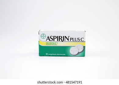 ROMANIA - September 11, 2016: Box of 10 effervescent tablets of Aspirin Plus C. Bayer AG is a German multinational chemical and pharmaceutical company founded in Barmen, Germany in 1863.