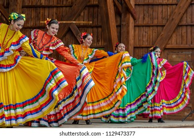 """ROMANIA, TIMISOARA - JULY 8, 2018: Dancers from Mexico in traditional costumes, present at the """"International Festival of hearts"""" organized by the City Hall Timisoara."""