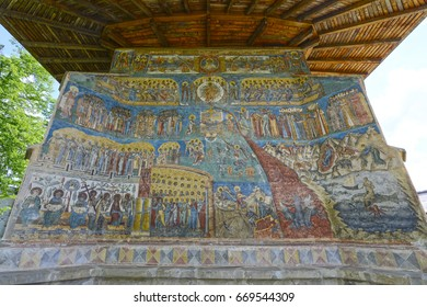 """ROMANIA, VORONET 05-21-2017: The painted monastery of Voronet is famous for the use of unique blue pigments, called """"Voronet-blue"""""""