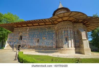 ROMANIA, VORONET - SEPTEMBER 28: Voronet Monastery in Romania on September 28, 2015 in Voronet, Romania