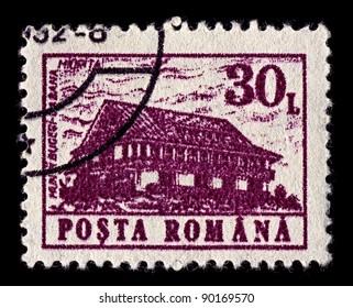 "ROMANIA-CIRCA 1991:A stamp printed in ROMANIA shows image of ""Miorita"" mountain hostel Bucegi, circa 1991."