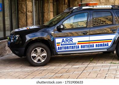 Romanian ARR (Autoritatea Rutiera Romana) car parked in Bucharest, Romania, 2020