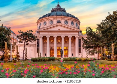 Romanian Atheneum, an important concert hall and a landmark in Bucharest, Romania. Sunset colors in autumn.