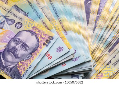 Romanian banknotes, close-up. RON Leu Money European Currency. Romania Value. Romanian banknotes as background. Lei is the national currency of Romania RON Leu Money European