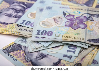 Romanian banknotes, close-up. RON Leu Money European Currency. Romania Value. Romanian banknotes as background. Lei is the national currency of Romania
