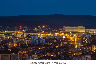 Romanian city by night, seen from above. Cluj-Napoca, Transilvania, Romania.