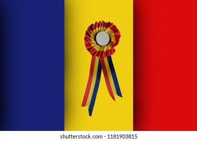 Romanian cockade with blank space inside on the flag of Romania
