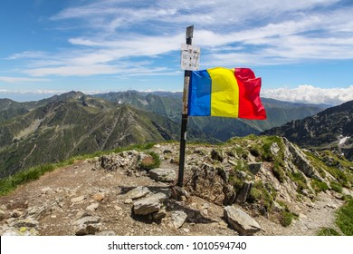Romanian flag on top of Negoiu peak. Romanian flag on the mountain summit. Fagaras mountains, Romania