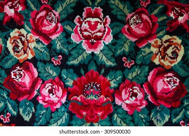 Romanian folk seamless pattern ornaments. Romanian traditional embroidery. Ethnic texture design