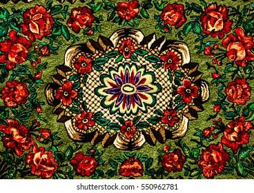 Romanian folk seamless pattern ornaments. Romanian traditional embroidery. Ethnic texture design. Traditional carpet design. Carpet ornaments. Rustic carpet design.