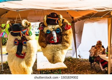 Romanian folklore mask for sale on a flea market in Bucharest, Romania – 2019