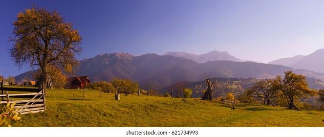 Romanian landscape between Piatra Craiului and Bucegi Mountain Bran, Sohodol, Fundata, Moeciu