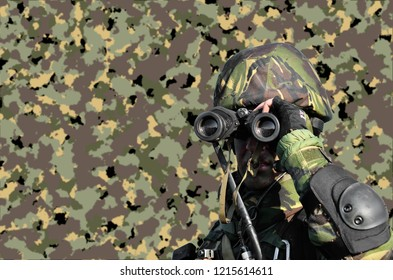 Romanian military on camouflage backgrouind