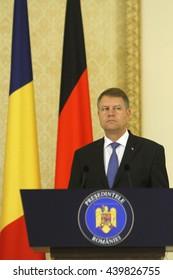 Romanian President Klaus Iohannis speaks during the commun press conference with German President Joachim Gauck at the Cotroceni Presidential Palace in Bucharest, Romania, Monday, June 20, 2016.