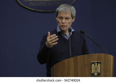 Romanian Prime Minister Dacian Ciolos holds a press conference after the first informal meeting of his cabinet, at Victoria Palace, in Bucharest, capital of Romania, 21 November 2015.
