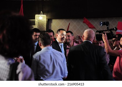Romanian Prime minister Victor Ponta and press at social democrat congress in Alba Iulia Romania, circa september 2014