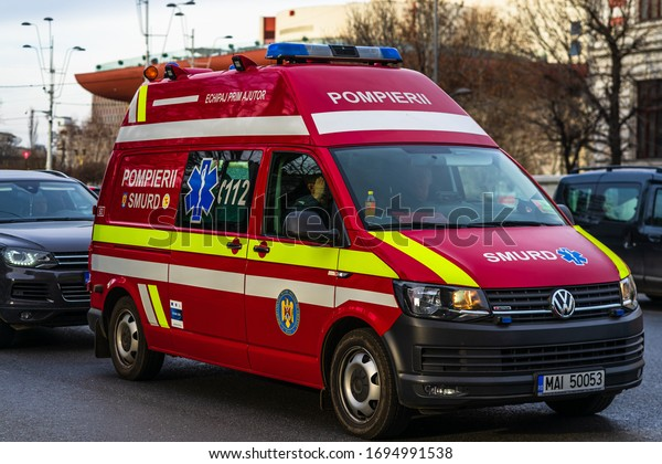 Romanian SMURD ambulance car, 911 or 112 emergency medical service in mission in downtown Bucharest, Romania, 2020. Coronavirus worldwide outbreak crisis. Spread of the COVID-19 virus