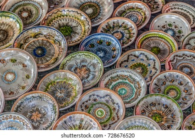Romanian traditional ceramic in the plates form, painted with specific patterns for Horezu area.