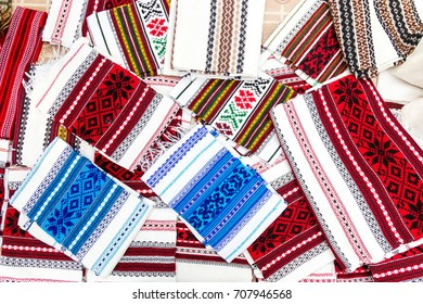 Romanian traditional embroidery. Ethnic texture design. Rustic towels, design tablecloths.