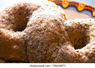 romanian traditional food named martyrs (macinici, mucenici) with walnuts, sugar, honey and cinnamon