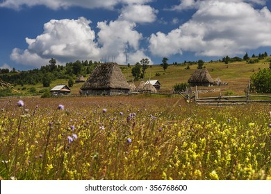 Romanian traditional village with old barn or shack with straw roof on a meadow