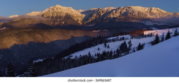 Romanian winter landscape in Carphatians Mountain