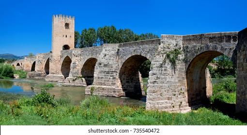 Roman-Medieval bridge of Frias on Ebro river. Burgos. Castilla and Leon. Spain