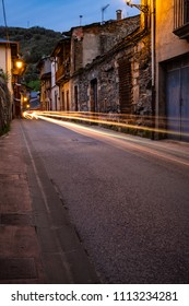 Romantic alley at night during the blue hour in villafranca del Bierzo.