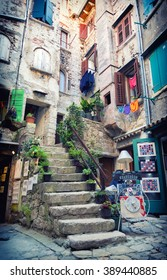 romantic alley on old town in Rovinj, Istria, Croatia
