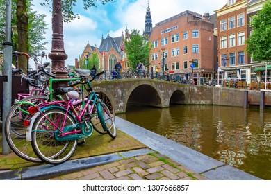 Romantic Amsterdam with bicyles and bridge