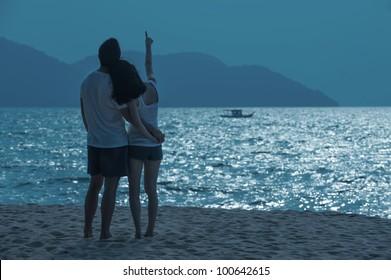 Romantic Asian Couple on the beach