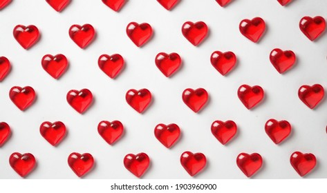 romantic background of red hearts on the floor of the screen