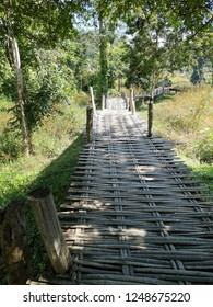 Romantic bamboo bridge crossing fields and nature, bucolic and rural Northern Thailand landscape