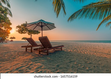Romantic beach scenery, summer vacation or honeymoon background. Travel adventure sunset landscape of tropical island beach.