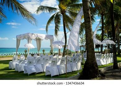 Romantic beach wedding venue in Bali, Indonesia.