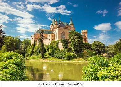 Romantic and beautiful Bojnice castle with lake reflection,UNESCO heritage (1103),Slovakia