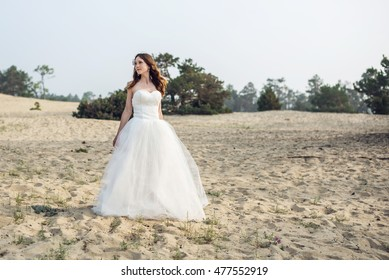 Romantic beautiful bride in white dress posing on the background wooden poles