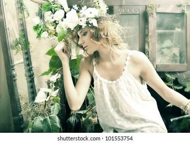 Romantic beauty girl in garden