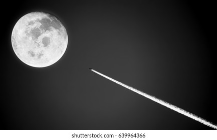 Romantic of Black and White photo about Fly me to the moon.Image of the moon furnished by NASA.