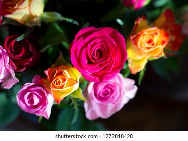Romantic bouquet of Pink and orange roses