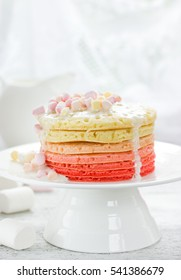 Romantic breakfast on Valentine Day - colorful pancake with marshmallow sauce