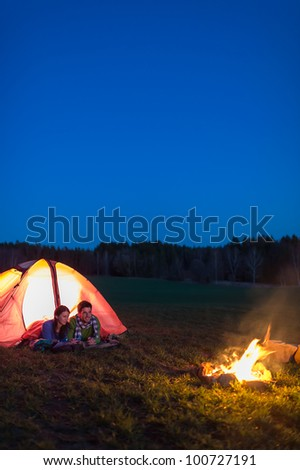 Romantic Camping Night Couple Lying Front Stock Photo ...