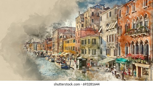 The romantic canals in the city of Venice
